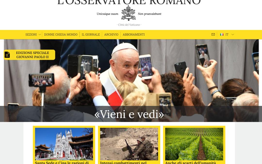 """L'Osservatore Romano si rinnova e diventa """"tascabile"""""""